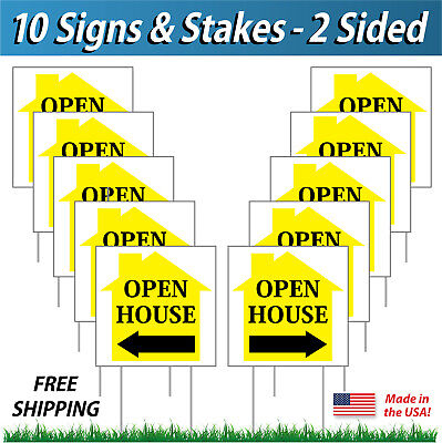 10 Signs - 12x12 Open House Directional Signs Corrugated Plastic Free Stakes Y