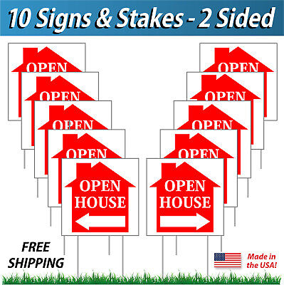 10 Signs 12x12 Open House Directional Signs Corrugated Plastic Free Stakes Rd