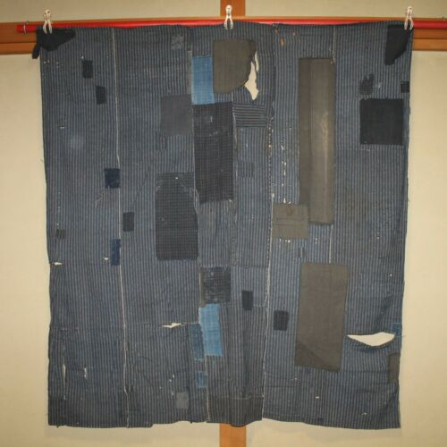 Japanese Antique Natural Indigo dye Cotton Patched Sashiko BORO BLUE Japan c030