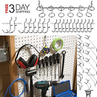 Peg Board Hooks Organizer Assortment Hanging Storage Heavy Duty Steel 50 Piece
