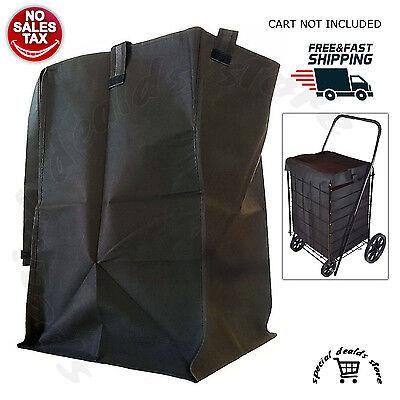 Folding Cart Bag Liner Shopping Basket For Swivel Wheel Trolley Rolling Utility