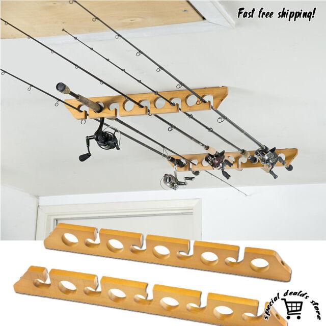 Fishing pole rod reel holder rack wooden ceiling wall for Ceiling mount fishing rod holders