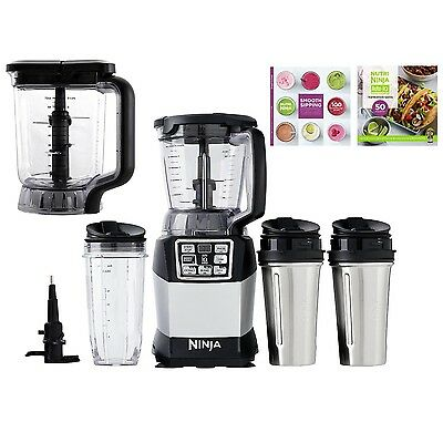 Ninja Auto IQ Blender System 48 & 72oz Pitchers + 3 Nutri Ninja Cups + Cook Book
