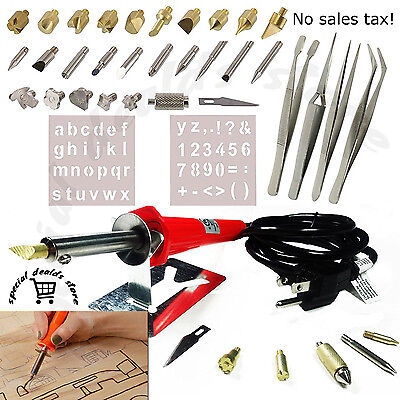 Wood Burning Tool Kit 40 pcs Craft Set Soldering Pyrography Art Pen Tips Hobby