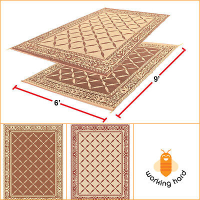 RV REVERSIBLE MAT 6' x 9' Outdoor Garden Patio Camping Rug Carpet Beige Brown