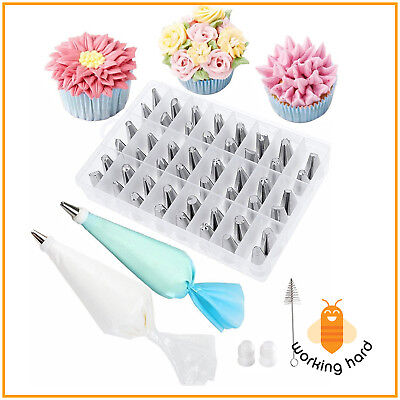 62 PIECES CAKE DECORATING KIT Supplies Tools Tips Icing Bag Nozzles Piping Set