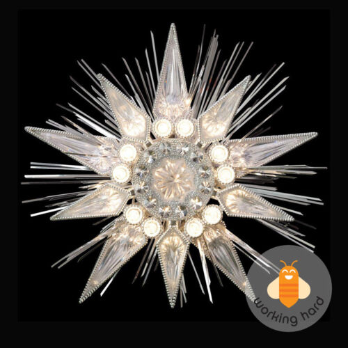 CHRISTMAS TREE STAR TOPPER Lighted Silver Jewel ...