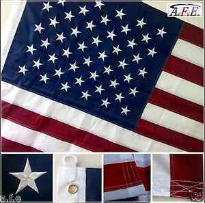 EMBROIDERED USA FLAG 10X15 FT AMERICAN TOP QUALITY DELUXE NYLON EMBROIDERED STAR