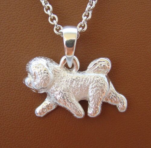 Large Sterling Silver Bichon Frise Moving Study Pendant