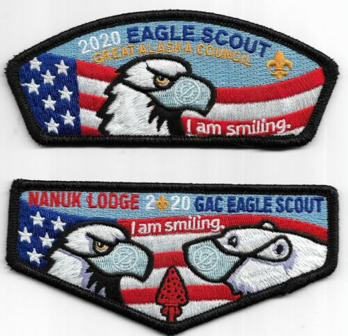 "GREAT ALASKA COUNCIL * 2020 EAGLE SCOUT CSP & FLAP * "" I AM SMILING "" MASK UP"