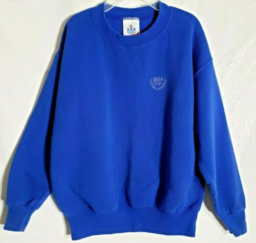 Vintage JC Penney 90s Blue USA Olympic Embroider Child 7/8 Crew Neck Sweatshirt