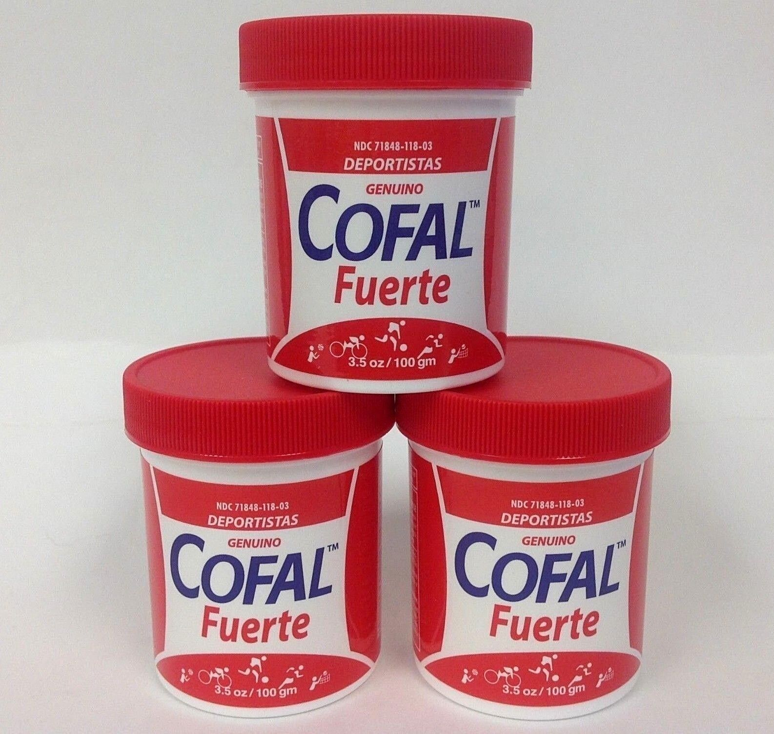 3 COFAL FUERTE ROJO 3.5oz GRANDE - FOR MUSCULAR PAIN, ARTHRITIS, BACK PAIN