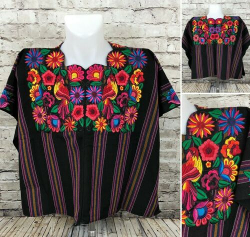 Guatemala Mayan Huipil Black Striped Floral Birds Sewn Embroidered One size