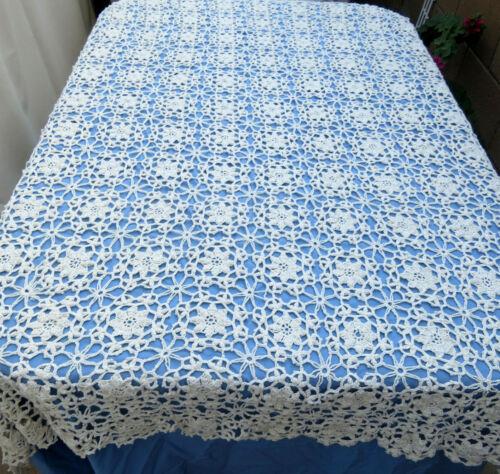 "Vintage Handmade Crochet Lace Tablecloth Pinwheel Beige Cotton 52 x 64"""