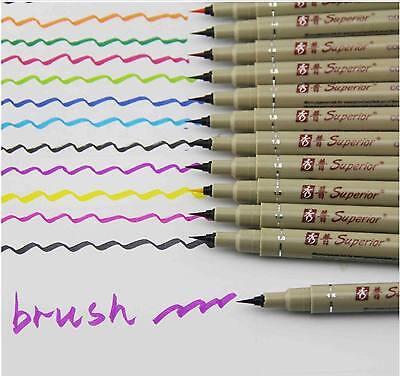 12colors Soft brush pen cartoon Watercolor Pastel Needle Pen Watercolor