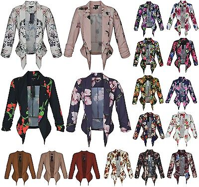 New Womens Open Front Ruched Sleeve Thin Jacket/Blazer Floral Print Solid Casual