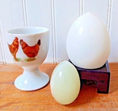 Egg Lot: Marble / Opaque Glass / Egg Cup & Stand (4) Piece Decorative Vintage