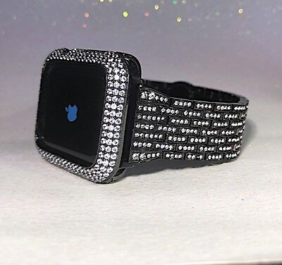 2 pc set 44mm S-4 Black Lab Diamond Apple Bezel +Crystal watch band iwatch bling ()