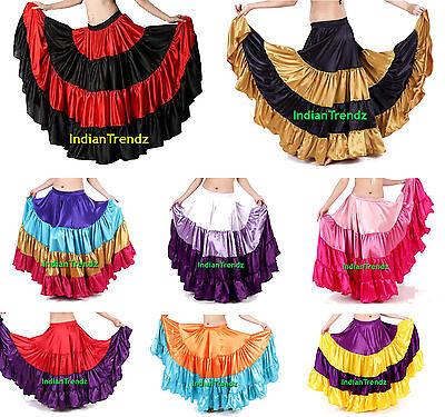 Mix Color Satin 6 - 12 - 25 Yard Tiered Gypsy Skirt Belly Dance Ruffle Flamenco Belly Dance Satin
