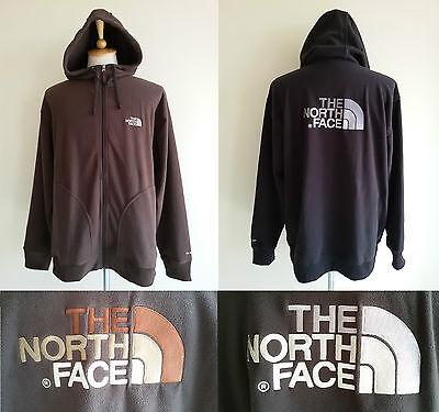 The North Face Mens TKA 200 Fleece Zip Hood Jacket Half Dome Black Brown L - 200 Fleece Hooded Jacket
