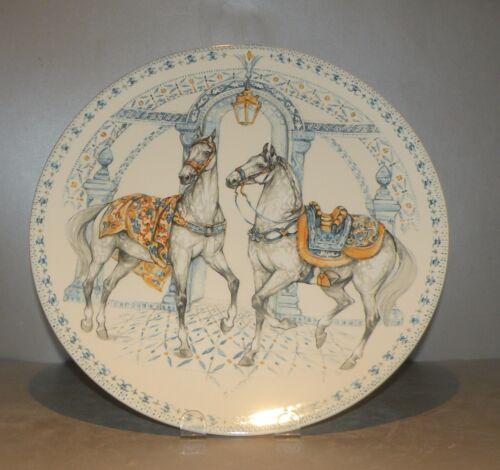 New Round Cake Platter , Chevaux Du Soleil pattern GIEN,  France