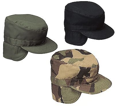 Military Ear Flap Combat Hats Army Style Winter Fatigue Caps w/ Earflaps S-XL Black Army Fatigue Cap