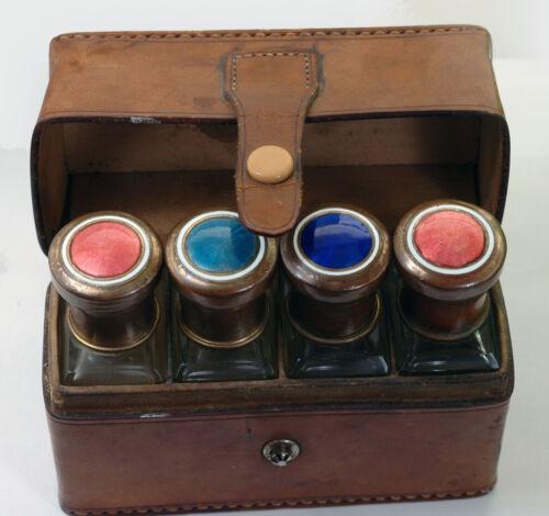 Antiqie Gilouche Enamel Traveling Perfume Bottles Set in Leather Case UWA