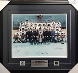 1950-51 Toronto Maple Leafs Stanley Cup Photo Framed Autographed