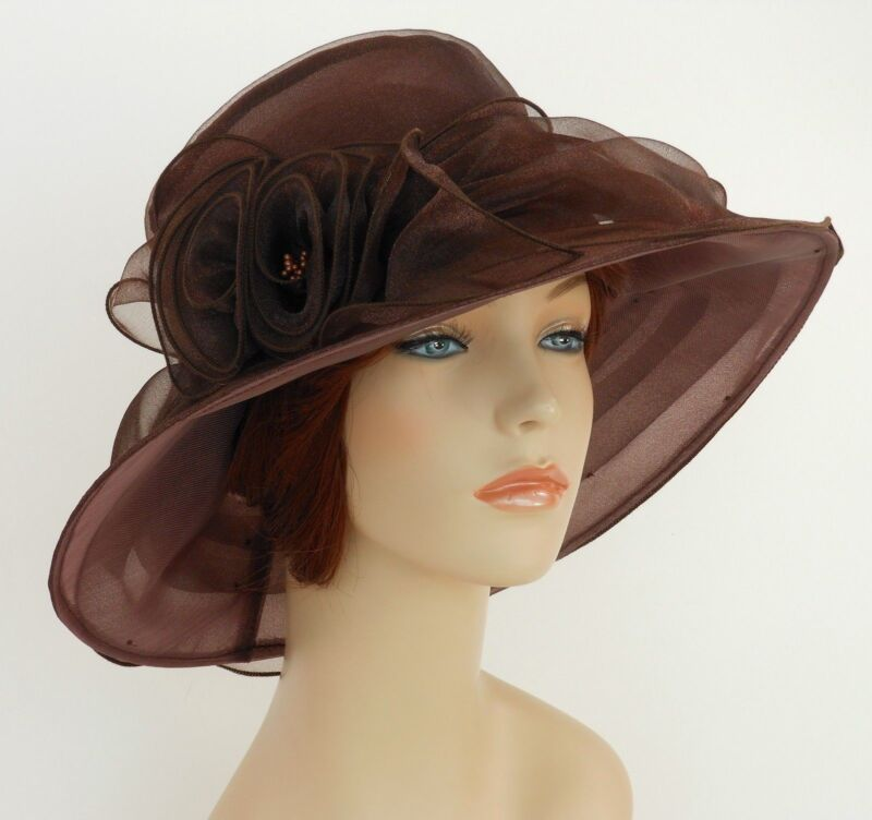 New Church Kentucky Derby Wedding  Party Organza  Dress Hat 3188 Brown