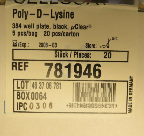 20 Greiner Bio-One Poly-D-Lysine Coat 384 Well Black μClear Microplates # 781946