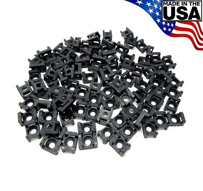 Zip Cable Tie Screw Mount Base Uv Black 100pc Set 4 6 8 10 14 Made In Usa