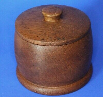 Vintage Carved Treen Wooden round trinket box, W:8.5cm [19866]