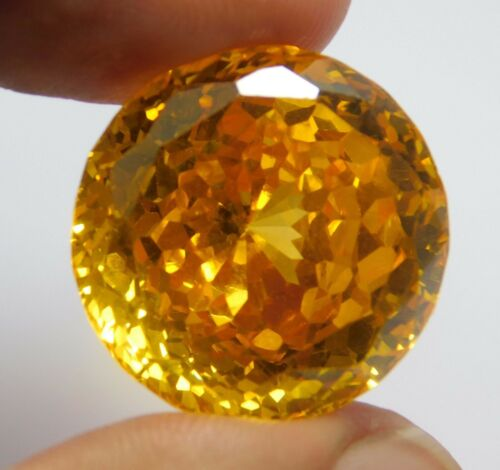 77.05Ct  Natural Translucent Round Cut Cambodian Yellow Zircon Loose Gemstone