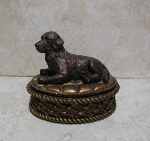 Labrador Retriever Dog Resin Trinket Box Copper Color
