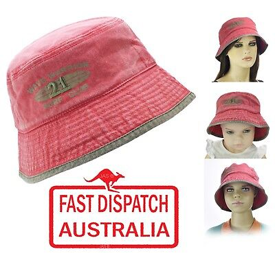 Kid Child Boy Girl Bucket Cotton Sun Hat Cap Cotton Small Large Stone Washed RED