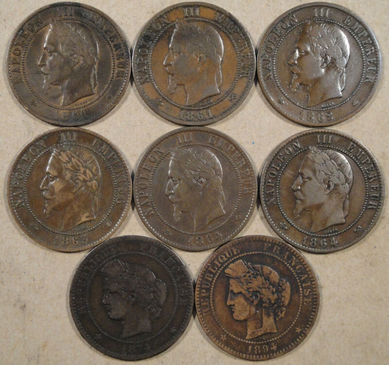 France 8 Different Ten Centimes 1861-94 Better Group