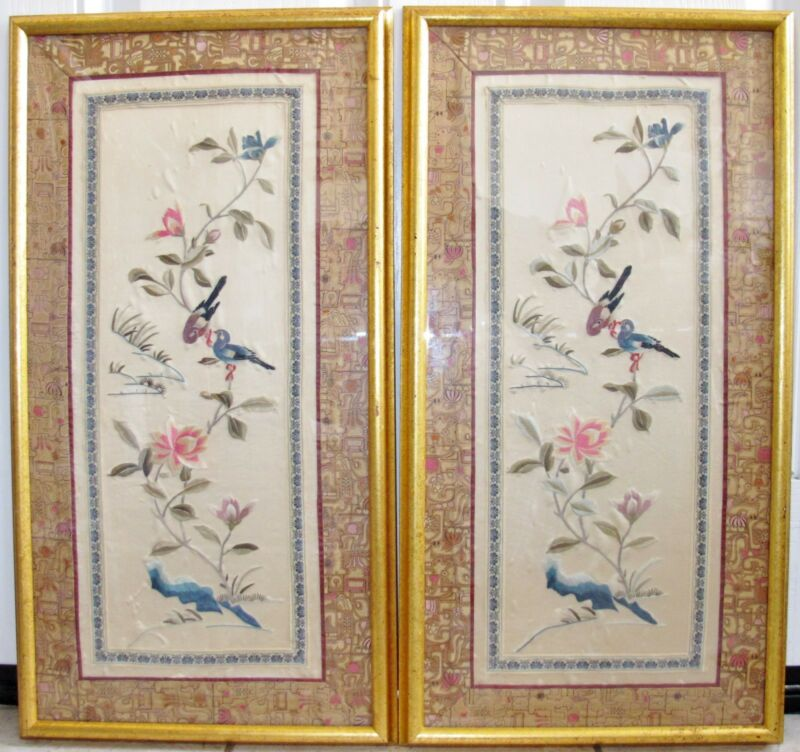 "Two 26.5"" Framed Chinese Tan Silk Embroidery Panels w/ Birds, Flowers & Brocade"