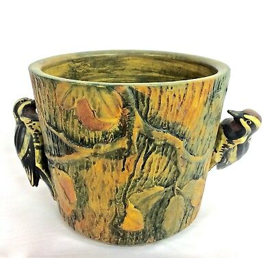 "WELLER 8"" WOODCRAFT with  WOODPECKERS  ON BOTH SIDES MARKED JARDINIERE C1920S"