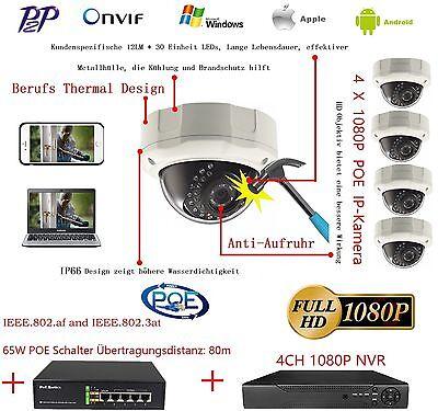 4 X 2MP 1080P POE Dome IP Kamera + 1 X PoE-Switch + 1 X 4CH NVR IP Kamera Kit DE