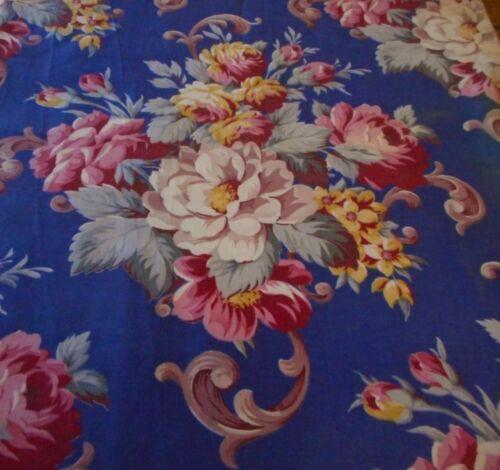 Antique Vintage Floral Roses Bouquet Cotton Fabric ~ Gorgeous Blue & Red Pink