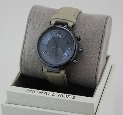 NEW AUTHENTIC MICHAEL KORS SAWYER BLUE IP BEIGE LEATHER WOMEN'S MK2630 WATCH