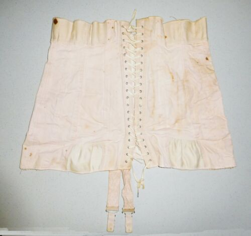 ANTIQUE 1800s VICTORIAN EDWARDIAN PINK BUSTIER LACE-UP CORSET~BONED~34 BUST