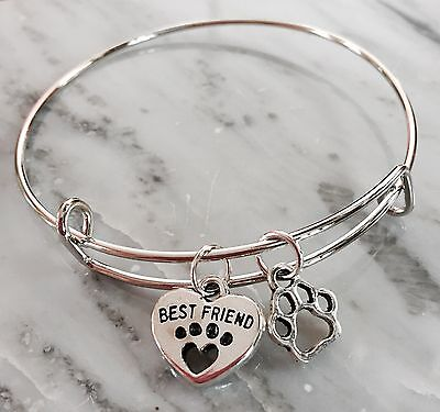 Best Friend ❤️ & Dog/Cat Paw 2 Silver charms Expandable Bangle