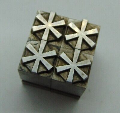 Printing Letterpress Printers Block All Lead Asterisk Star Symbol Lot Of 4
