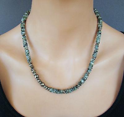 Green Rutilated Quartz Necklace - U&C Sundance Green Rutilated Quartz Wavy Heishi, Pyrite .925 Silver Necklace 21