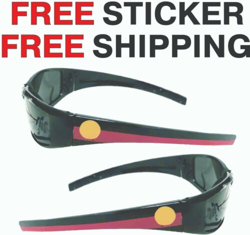 Aboriginal Flag Sunglasses plastic Black Polaroid lenses INCLUDES FREE STICKER