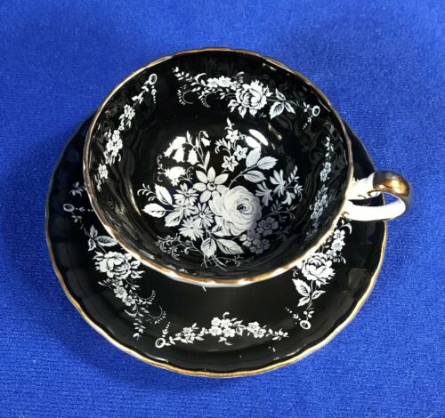 AYNSLEY GOLD TRIM BLACK WHITE FLOWERS ROSES CUP SAUCER