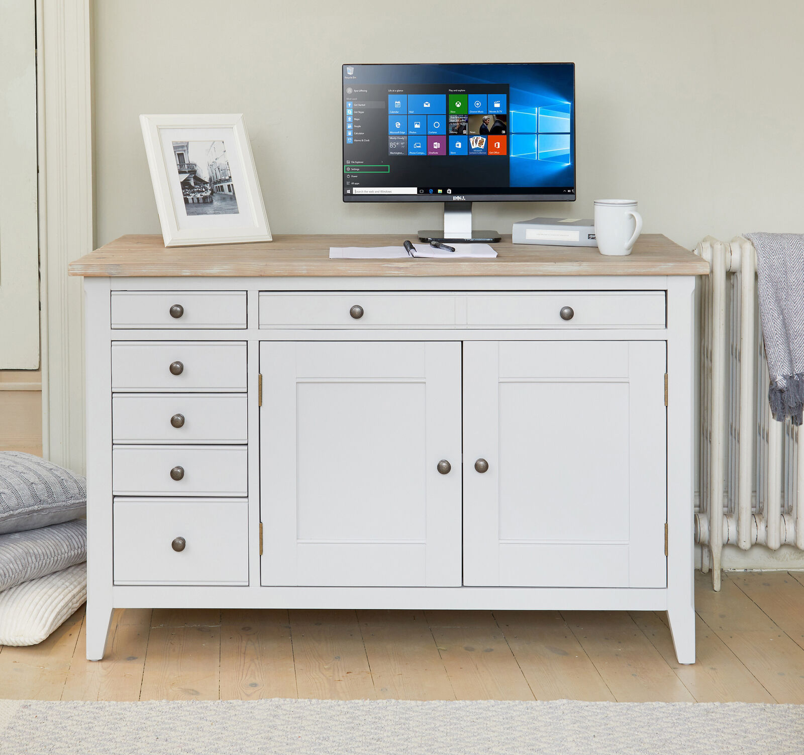 Signature Solid Wood Workstation With Hideaway Pc Desk Study Grey And Limed Oak Ebay