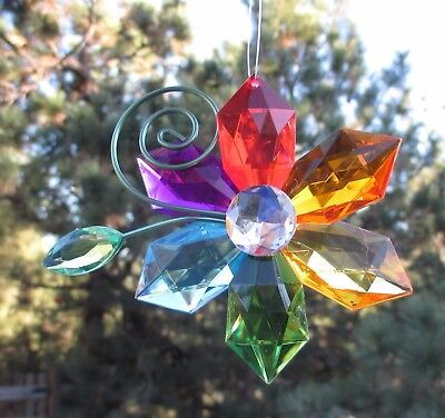 dd Crystal Expressions rainbow FLOWER ORNAMENT suncatcher sun catcher - Rainbow Flower