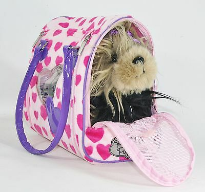 Pucci Pups Stuffed Yorkie Shaggy Pet Dog & Pink Hearts Carrier Purse Zip Battat